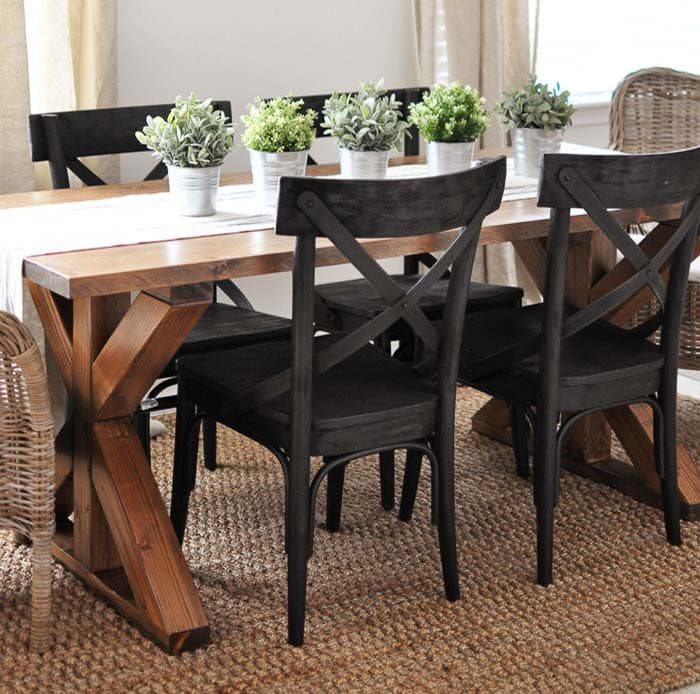 X-brace farmhouse dining table