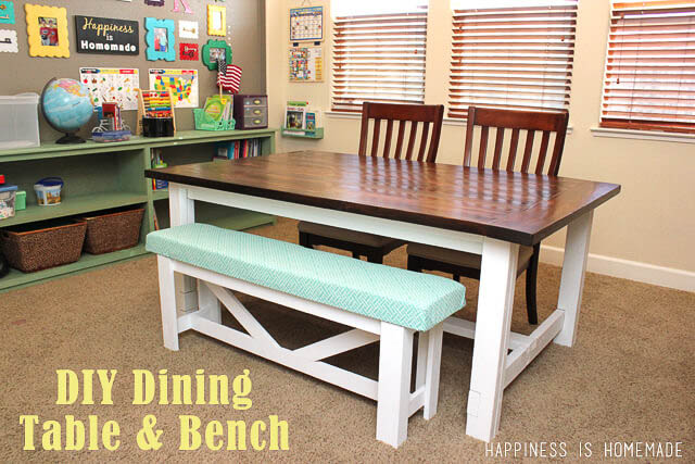 Simple Farmhouse table with upholstered bench
