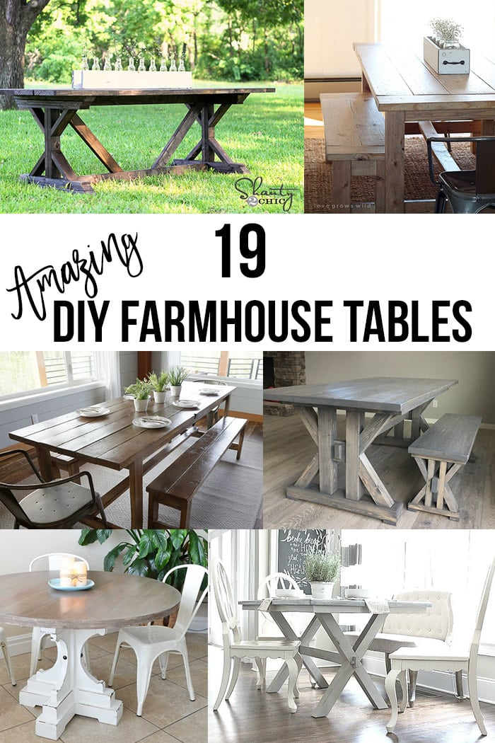 DIY Famrhouse table ideas collage with text overlay