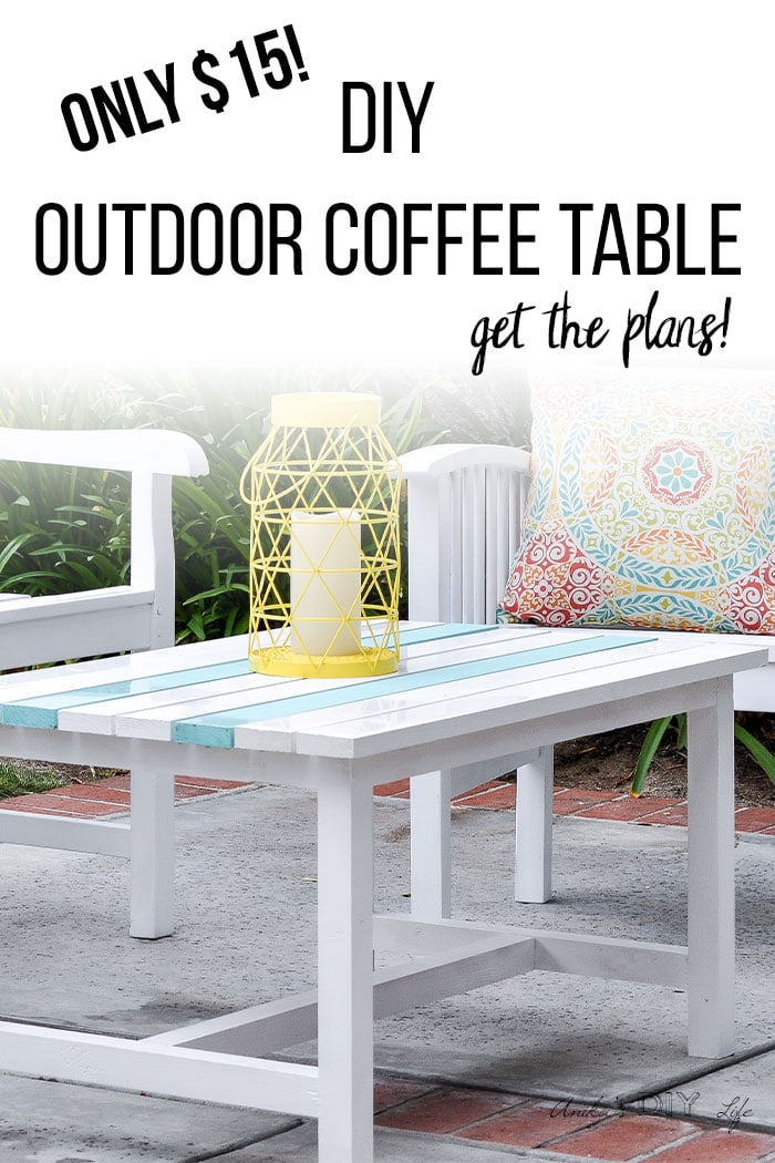 White DIY outdoor coffee table in patio with text overlay