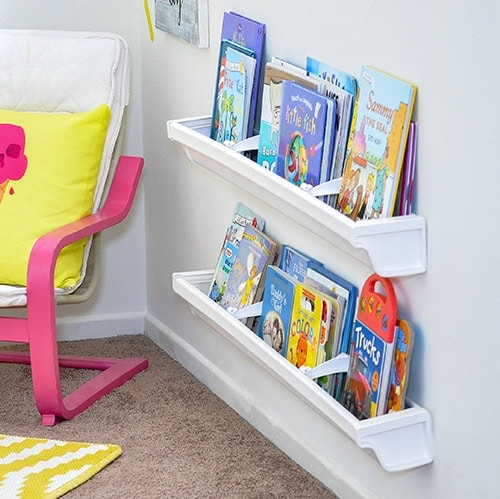 Full step by step tutorial to install rain gutter bookshelves. It makes a perfect addition to any kid's room.