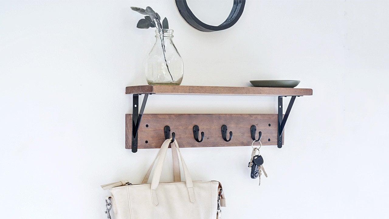 DIY entryway shelf with hooks social