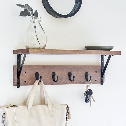 DIY Entryway Shelf with Hooks