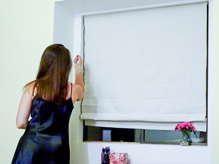 How to use window with drop cloth Roman shade
