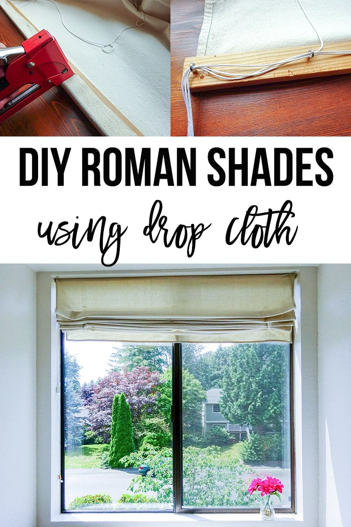 Collage of DIY Roman shades with text overlay