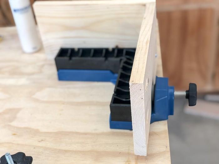 Using a corner jig to assemble a drawer box