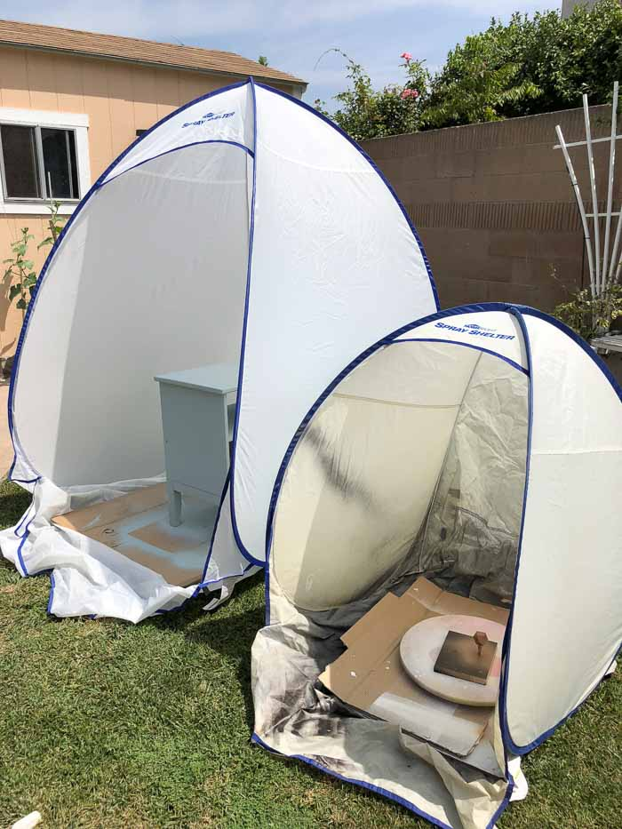 medium spray shelter and small spray shelter used for painting