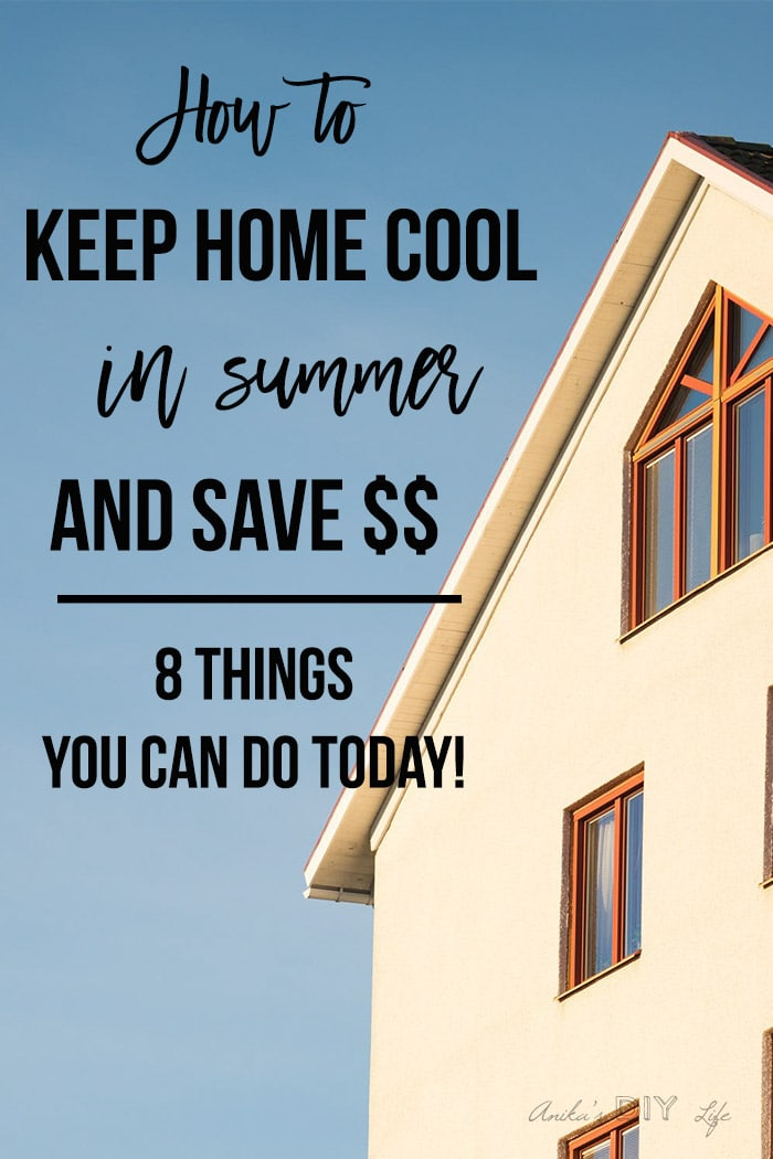 "House in sun with test overlay ""How to keep the house cool in summer"" 8 things you can do today!"