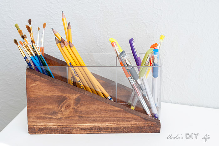 top view of the plexiglass and wood DIY modern pencil holder