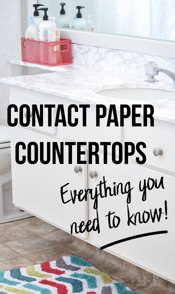 Faux marble contact paper countertops with text overlay