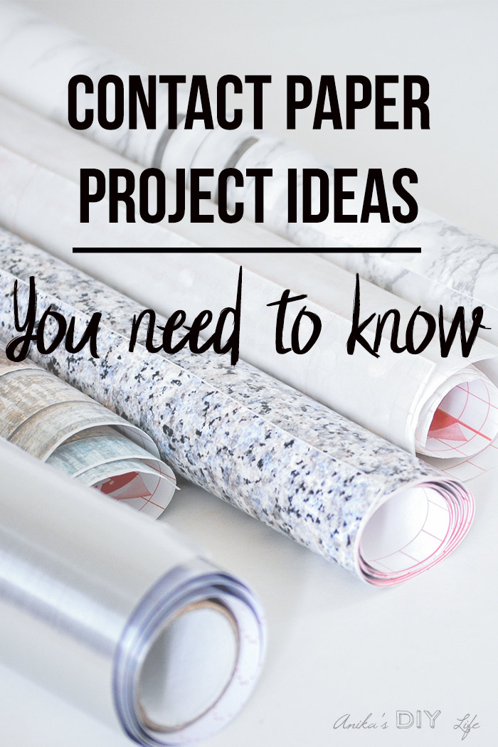 Rolls of contact paper on white table with text overlay