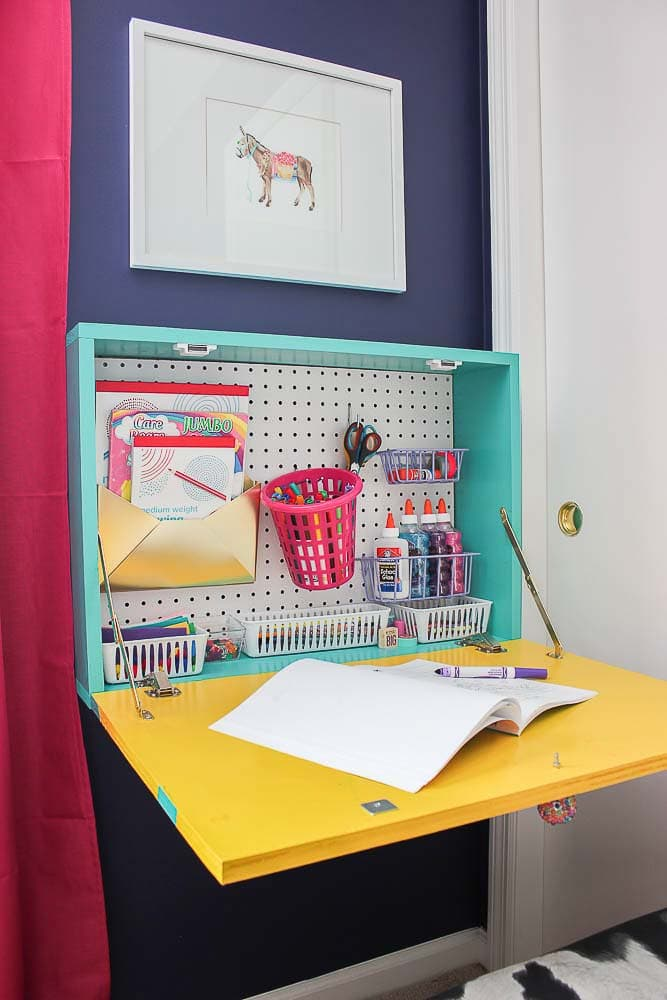Wall mounted kids desk with storage