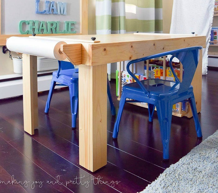 DIY Kids craft table with book storage