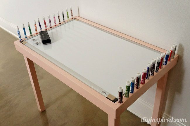 whiteboard drawing table in room