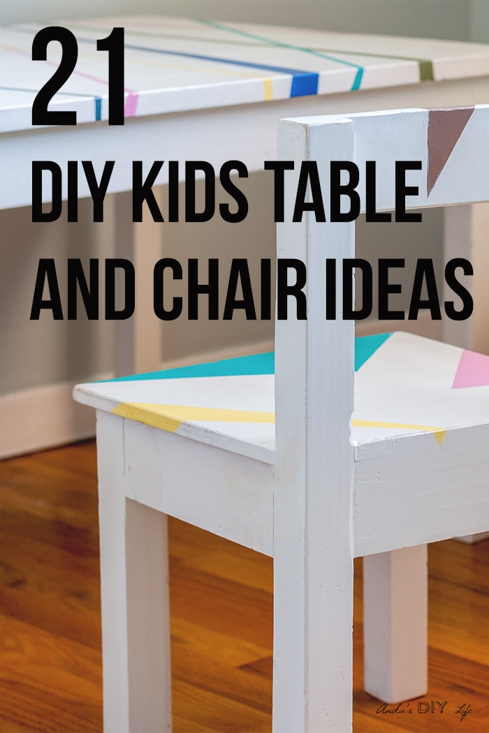 DIY kids table and chair closeup with text overlay
