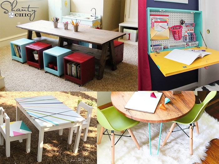 collage of colorful kids table and chair sets