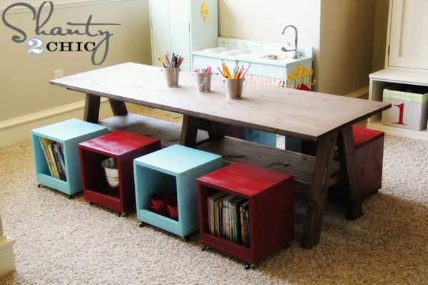 Kids table in playroom