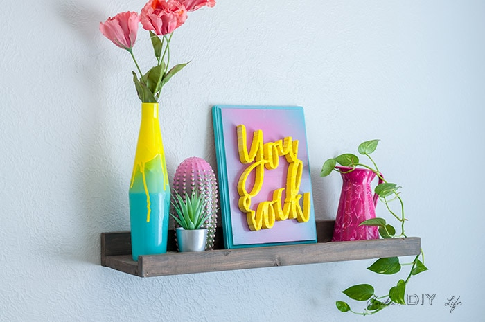 Wood shelf with colorful decor using various cool spray painting effects