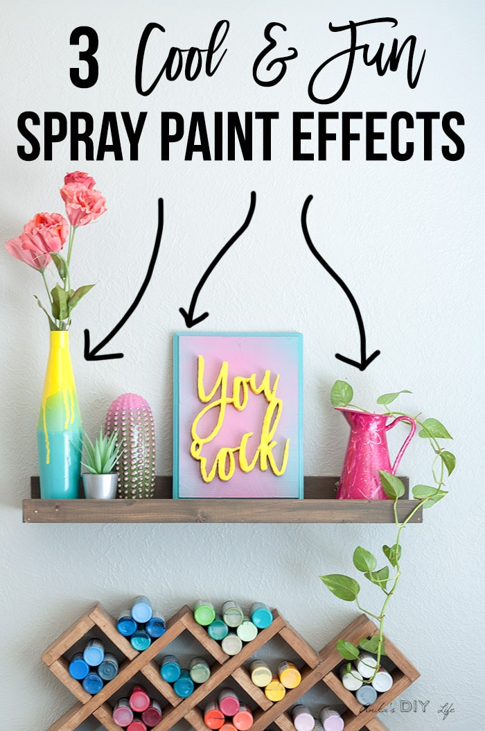 Colorful shelf with 3 cool spray paint effects and text overlay