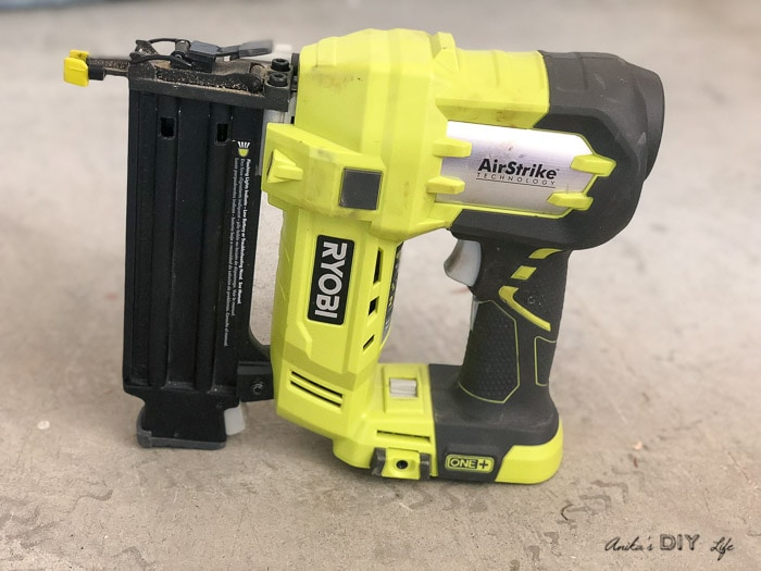 brad nailer on workshop floor
