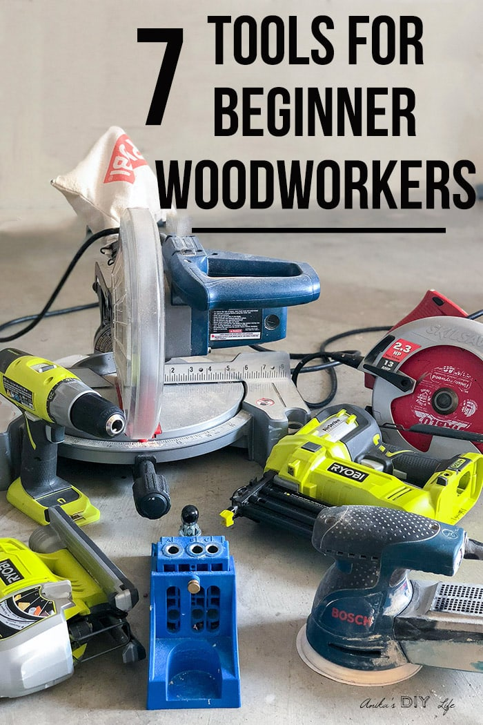 collection of tools for beginner woodworking on workshop floor with text overlay