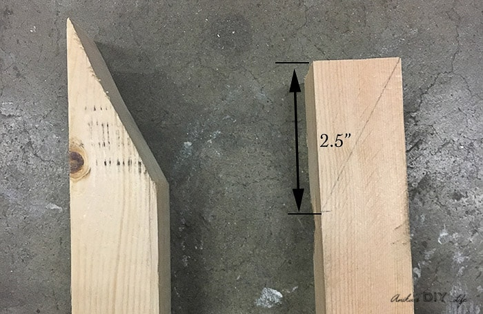 schematic text overlay showing how to cut the legs of the DIY tiered plant stand