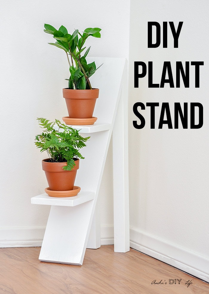 DIY tiered plant stand with 2 small plants and text overlay