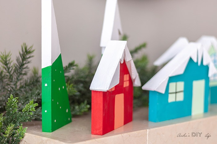close up view of the DIY Christmas Village display!