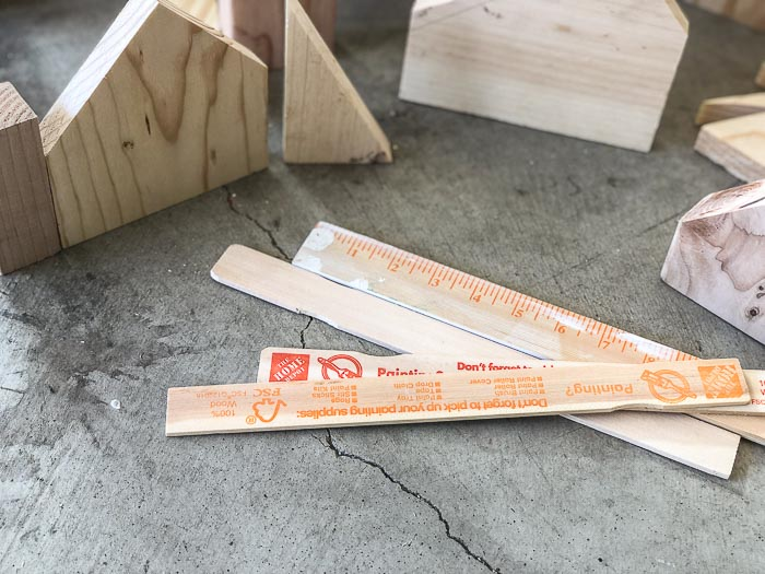 paintsticks to cut up for roofs of DIY Christmas village