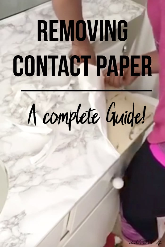 Removing contact paper from countertop with text overlay