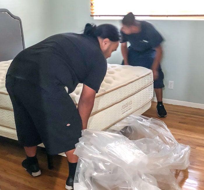 Saatva mattress setup in room