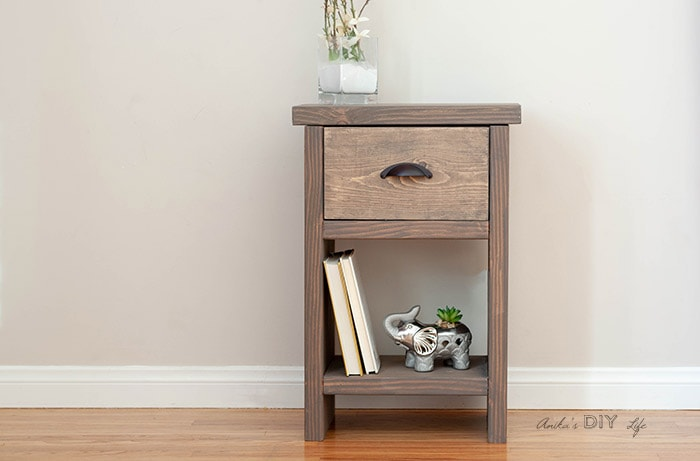 DIY nightstand with drawer and hidden storage