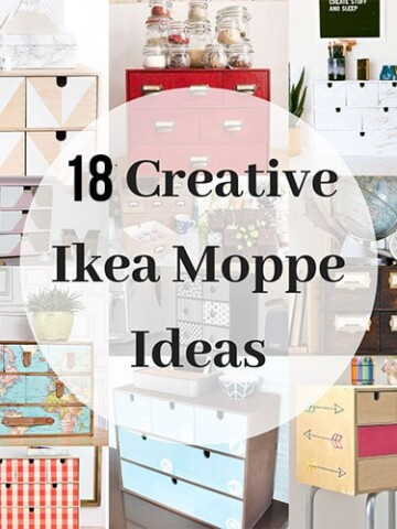 Collage of the best Ikea Moppe hacks!
