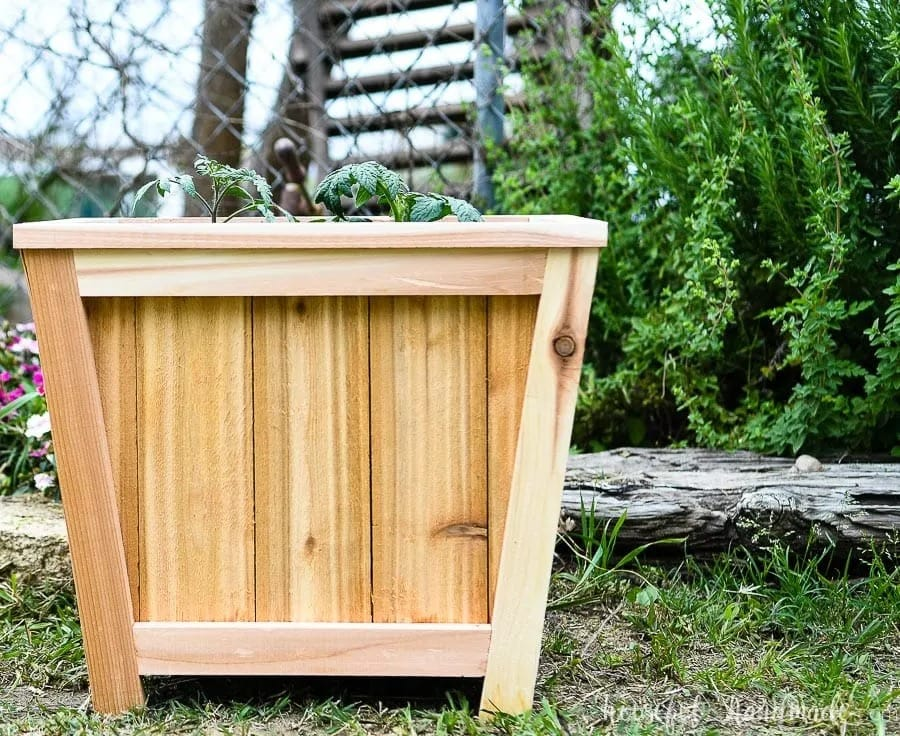 tapered shaped wood planter box