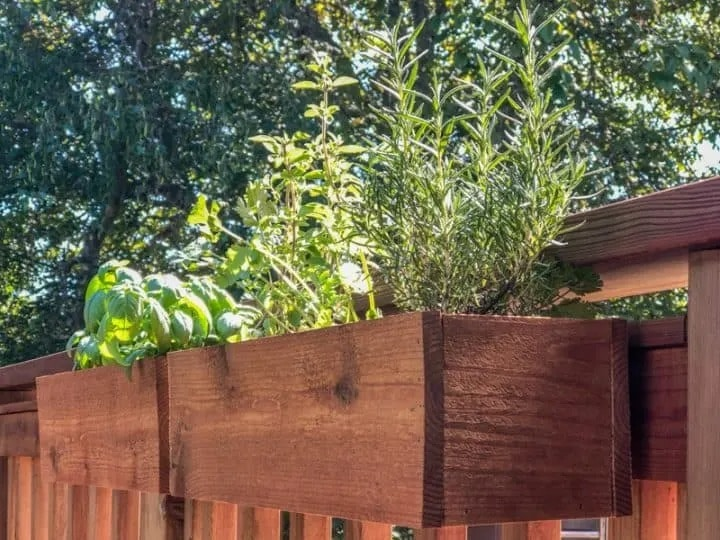 wood planter box attached to deck railing