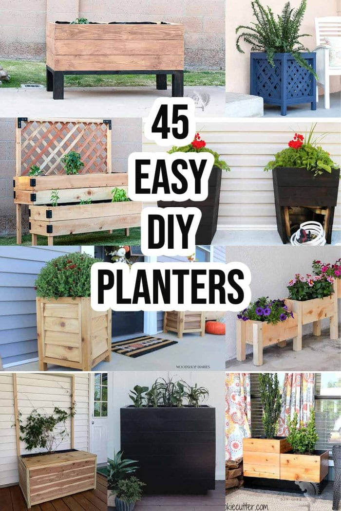 Collage of DIY wood planter box ideas with text overlay