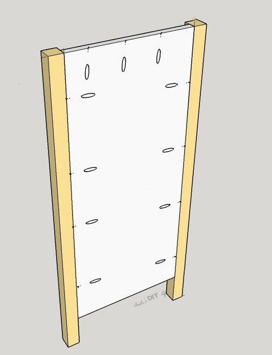 schematic of side panel of DIY dresser