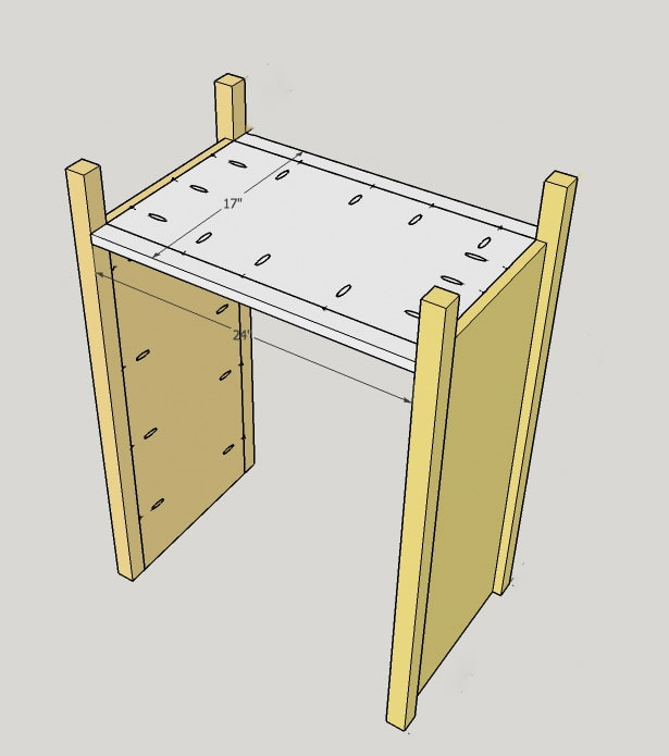 scematic of adding bottom between the sides of a DIY dresser