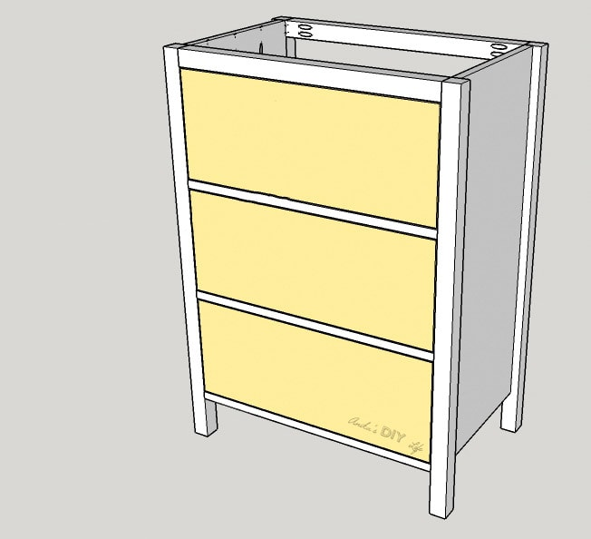 schematic of adding drawers to a DIY dresser