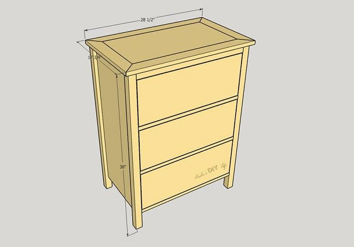 schematic of DIY 3 drawer dresser
