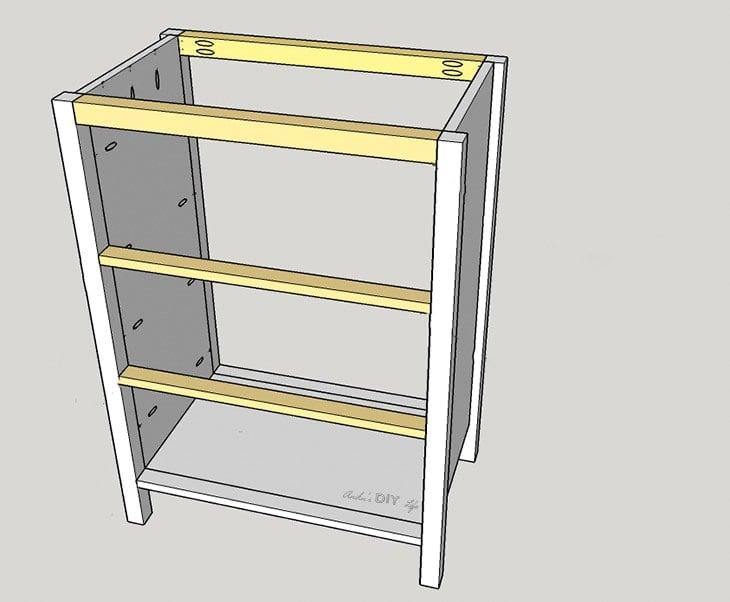 Schematic of attaching rails on DIY three drawer dresser