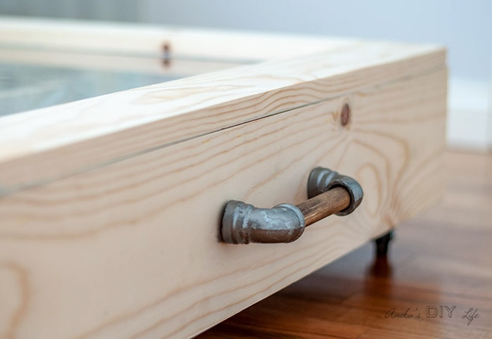 close up of pull on the DIY under bed shoe storage drawer