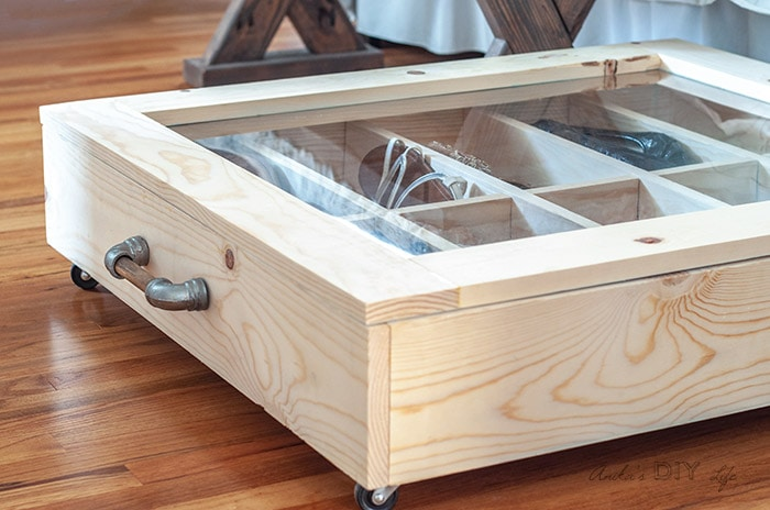 close of the plexiglass lid and dividers inside the DIY under bed shoe organizer