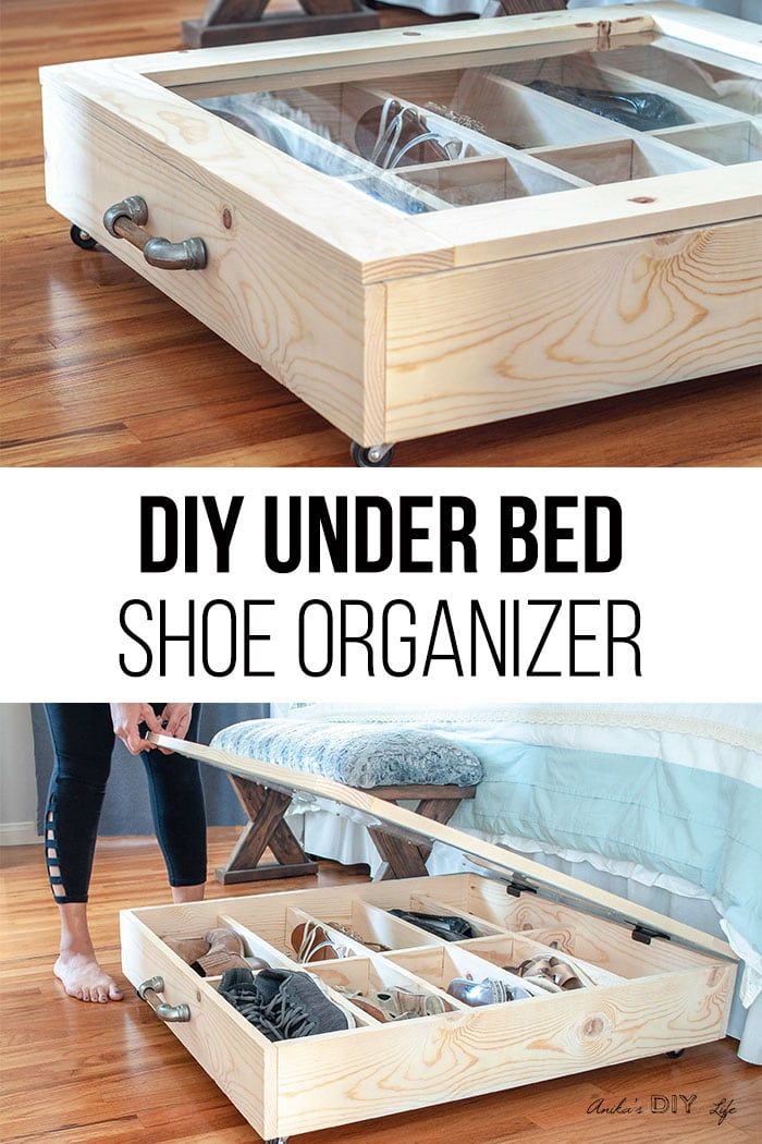 collage of DIY under bed shoe organizer with text overlay