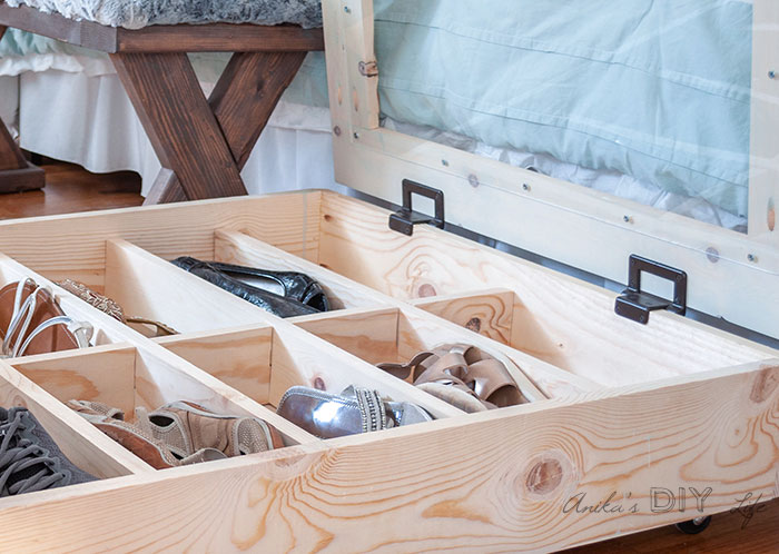 Close up of hinges used for the DIY under bed shoe organizer