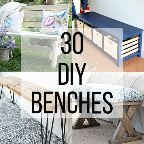 Collage of four DIY benches with text overlay