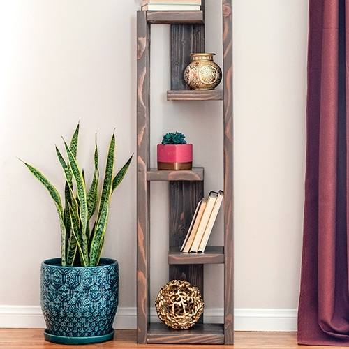 Build this simple modern bookshelf with an eclectic look with plans, step by step tutorial and video.