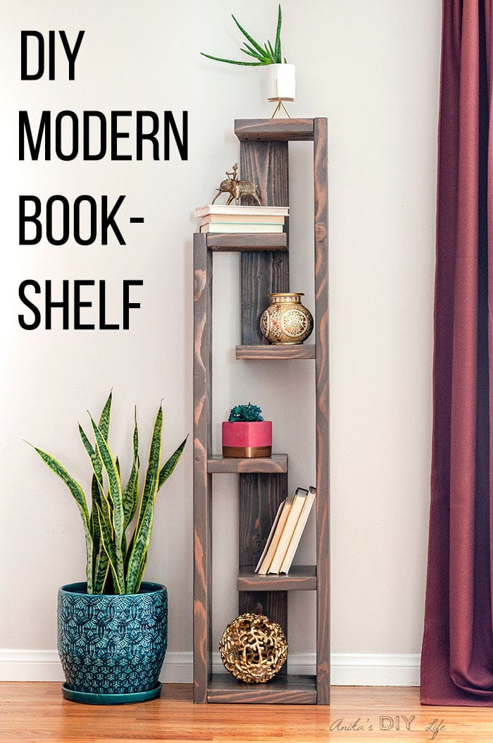 DIY Modern Bookshelf with decor items and text overlay