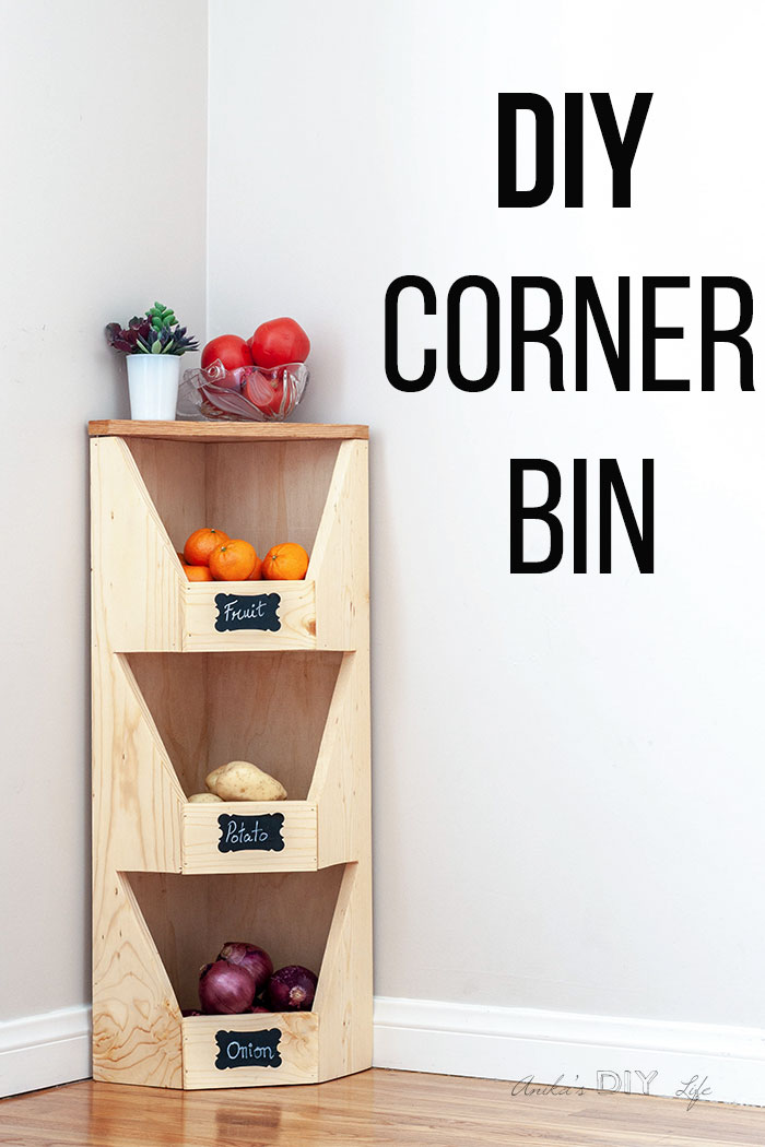 DIY corner vegetable bin with fruits and vegetables and text overlay
