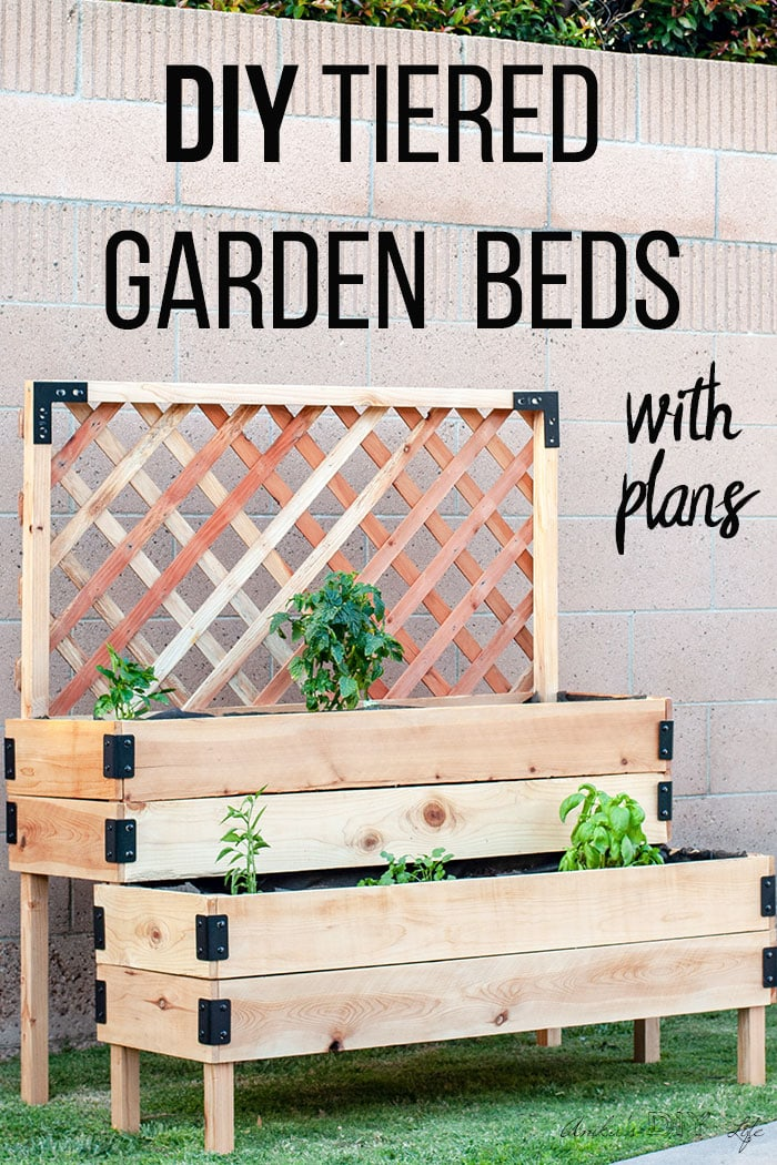 DIY Tiered raised vegetable bed with trellis in backyard with text overlay